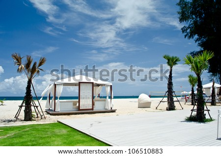 White luxury tent on the beach with the sea view - stock photo