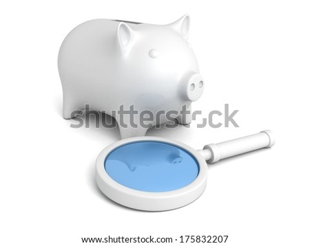 white magnifier glass and piggy bank - stock photo