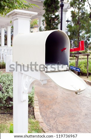 White Mail Box at house - stock photo