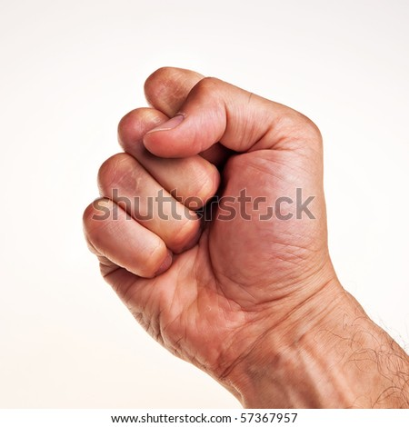 White male right hand, fist isolated over white background. - stock photo