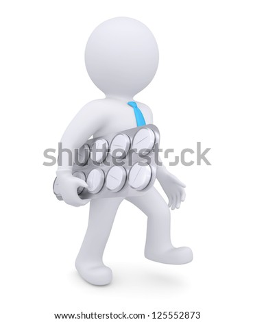 White man is with a pack tablets under his arm. Isolated render on a white background - stock photo