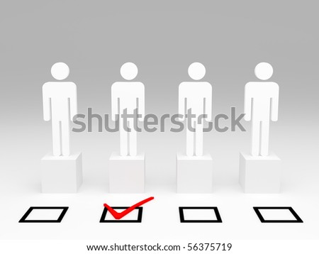 white man model 3d and check selection box - stock photo