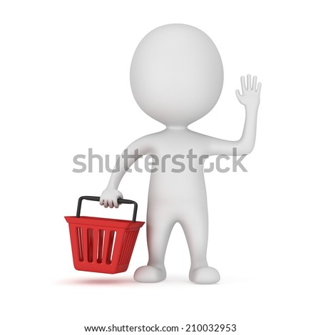 White man stand with red shop basket raised one's hand for greeting. 3d render isolated on white. Sales, market, shop concept. - stock photo