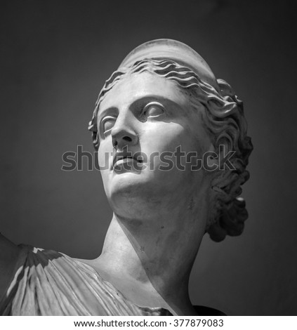 White marble head of young woman Artemis - stock photo