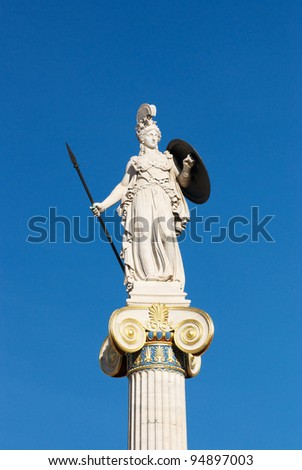 White Marble statue of Athena in front of the Academy of Athens, Greece - stock photo