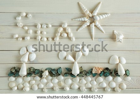 White marine items on wooden vintage background. Sea objects on rustic wooden table. Beach and vacation concept. Seascape with beach, palm trees, sun made of sea shells. Flat lay, overhead top view - stock photo