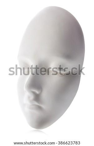 White mask close-up isolated on white background. - stock photo