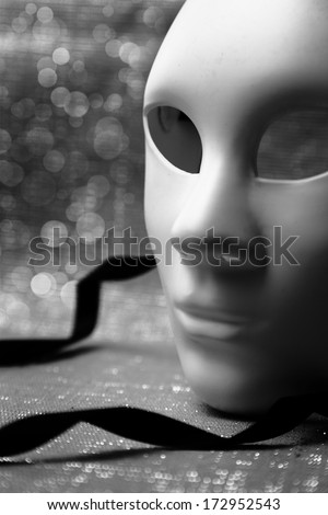 White mask with glittering background - stock photo