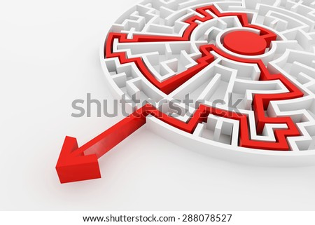 White maze and red solution line, complex way to find exit, business concept. - stock photo