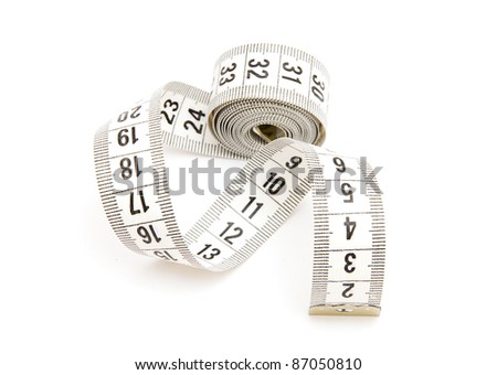 White measuring tape isolated on white background - stock photo