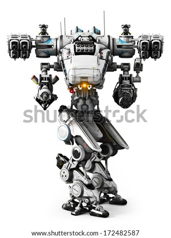 White Mech weapon with full array of guns pointed on a white background - stock photo