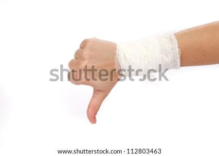 white medicine bandage on injury hand on white background - stock photo