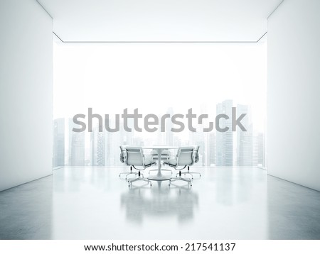 White meeting room - stock photo