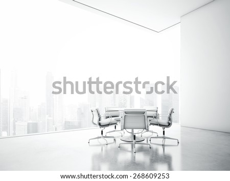 White meeting room with panoramic city view. 3D rendering - stock photo