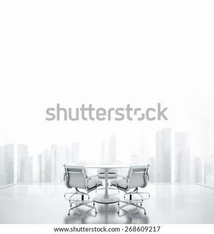 White meeting room with place for text. 3D rendering - stock photo