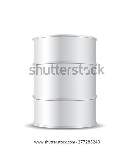 White metal barrel isolated on white - stock photo