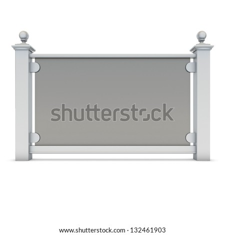 White metal railing with glass - stock photo