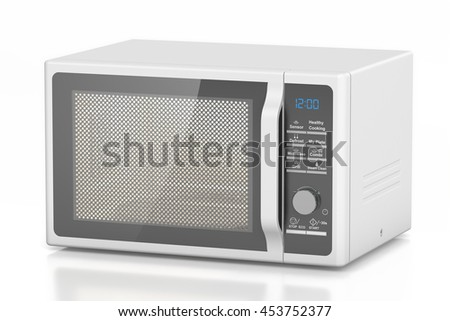 white microwave oven, 3D rendering isolated on white background - stock photo
