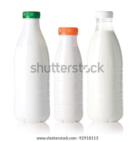 White milk bottle  isolated on white background - stock photo