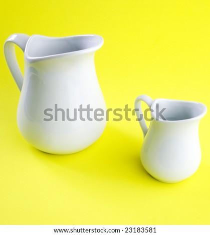white milk churn and coffee pot - stock photo