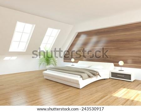 white modern bedroom design-3Drendering - stock photo