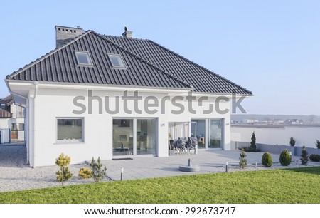 White modern bungalow designed in scandinavian style - stock photo