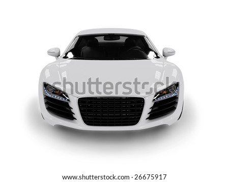 White modern car isolated on black background. isolated on black background. Excellent material for web banners - stock photo