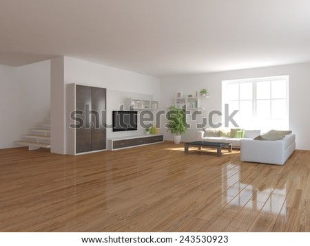 white modern interior background-3D rendering - stock photo