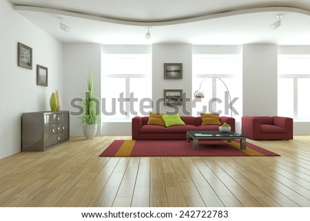white modern interior-3D rendering - stock photo