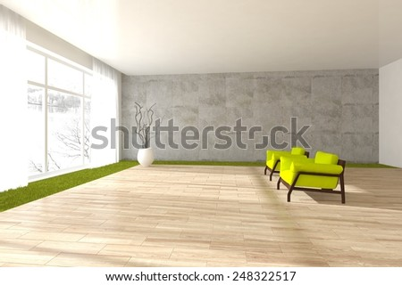 white modern interior with panoramic windows with green armchairs-3D rendering - stock photo