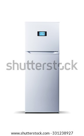 White modern refrigerator isolated on white. The external LED display, with blue glow. Fridge freezer. - stock photo