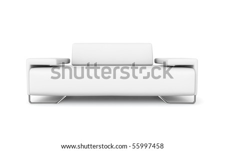 white modern sofa - stock photo