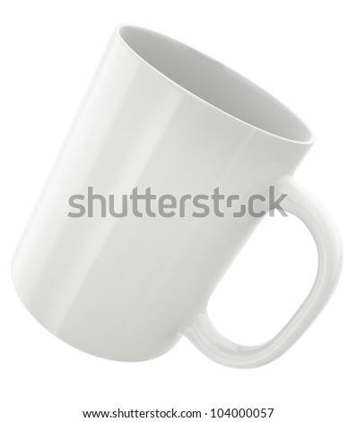 White mug, 3D render. - stock photo