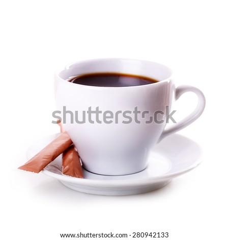 white mug tea coffee Isolated on white background - stock photo