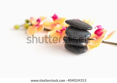 white mural with stones and Orchid for the rest room in the salon or at home - stock photo