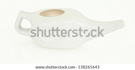 White Neti Pot Isolated - stock photo