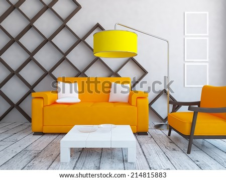 white nice interior of a room with orange furniture - stock photo