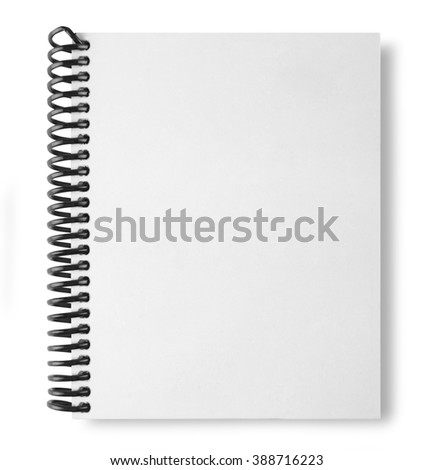 white note book isolate on white background with shadow - stock photo