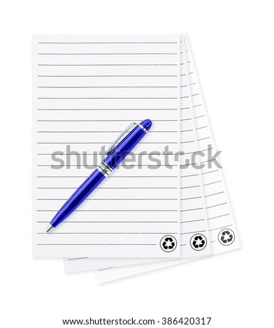 white note paper with pen. isolated on white background. blank paper and pen with lined pattern pages isolated on white background. Paper sheet and pen. isolated on white background. - stock photo