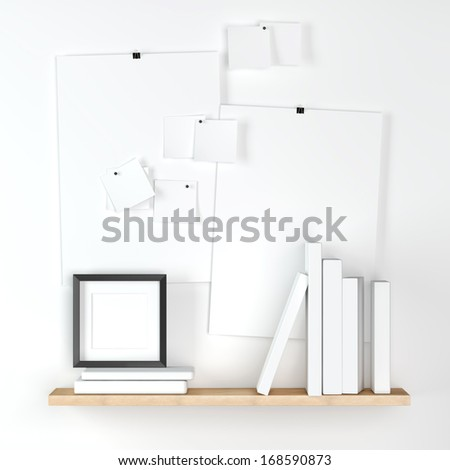White notes on wall with black frame and books on a shelf - stock photo