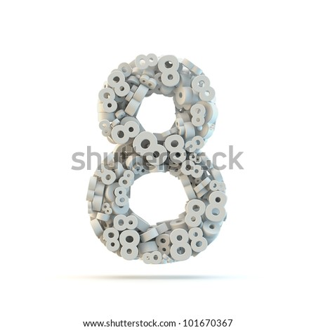 White number 8 isolated on white. Part of high resolution graphical number set. - stock photo