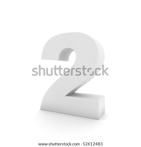 white number two - stock photo
