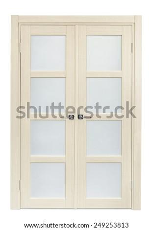 White oak interior double door isolated on white - stock photo