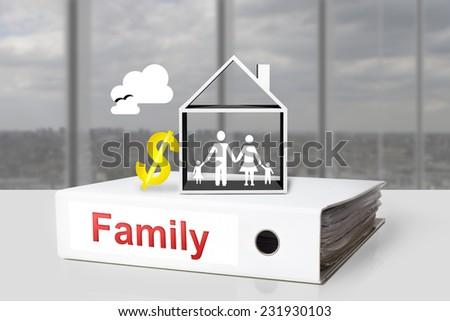 white office binder family children  hose dollar symbol - stock photo