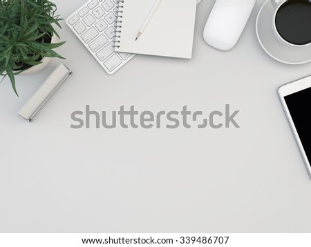White office desk table with computer, smartphone, supplies and coffee cup. Top view with copy space  - stock photo