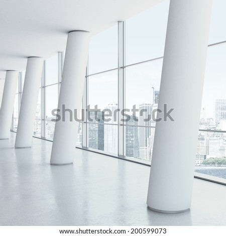 White office interior with columns.  - stock photo