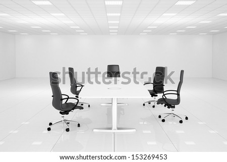 White office room with table and chairs for conference - stock photo