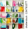 White office shelves with different stationery, close up - stock photo