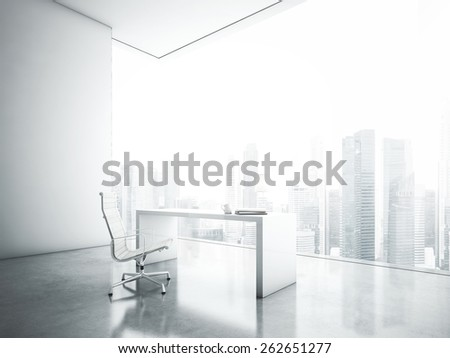 White office with  panoramic window - stock photo
