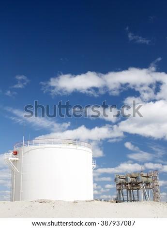 White oil reservoir - stock photo